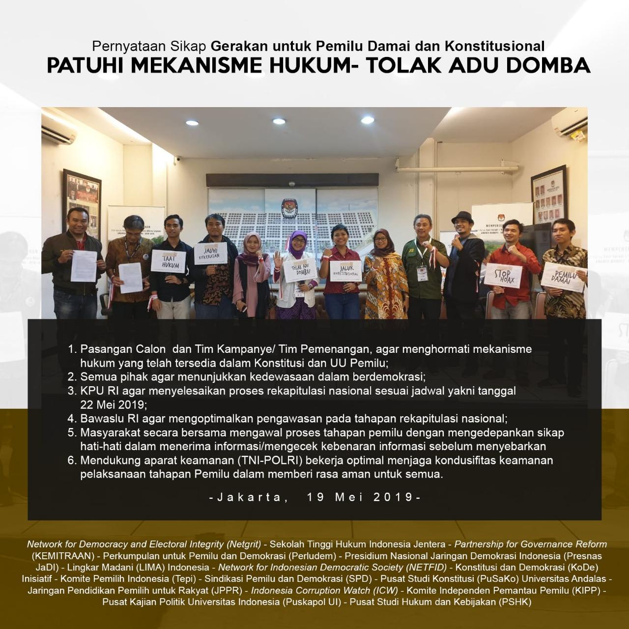"""(Indonesia) Pernyataan Sikap Gerakan untuk Pemilu Damai dan Konstitusional """"Patuhi Mekanisme Hukum – Tolak Adu Domba"""" , Minggu 19 Mei 2019 Media Center KPU RI Jakarta Pusat"""
